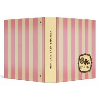 Baby Shower - Vintage Pink Stripes & Rattle binder