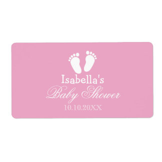 Baby shower water bottle stickers with footprints shipping label