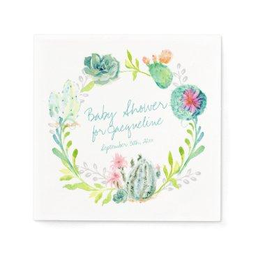 luxuryweddings Baby Shower Watercolor Art Cactus Succulent Desert Paper Napkin