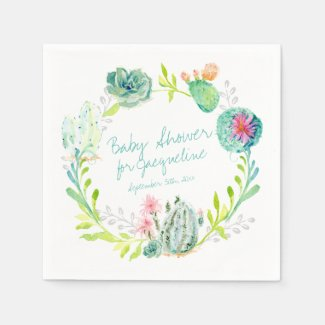 Baby Shower Watercolor Art Cactus Succulent Desert Paper Napkin