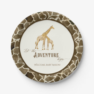 Baby Shower Watercolor Cute Giraffe Mama and Baby Paper Plate
