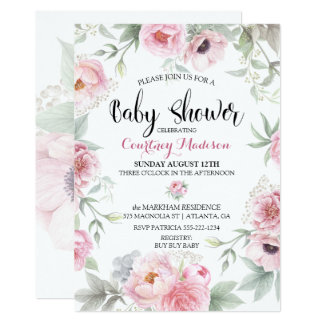 Baby Shower Watercolor Pink Roses Flowers Card