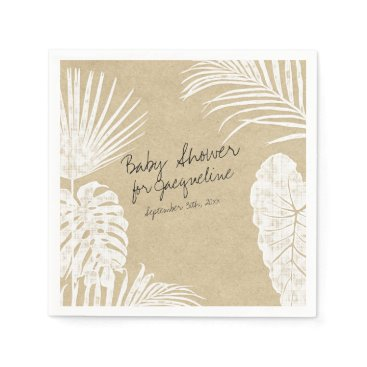 Beach Themed Baby Shower Watercolor Tropical Leaf Coastal Kraft Napkin