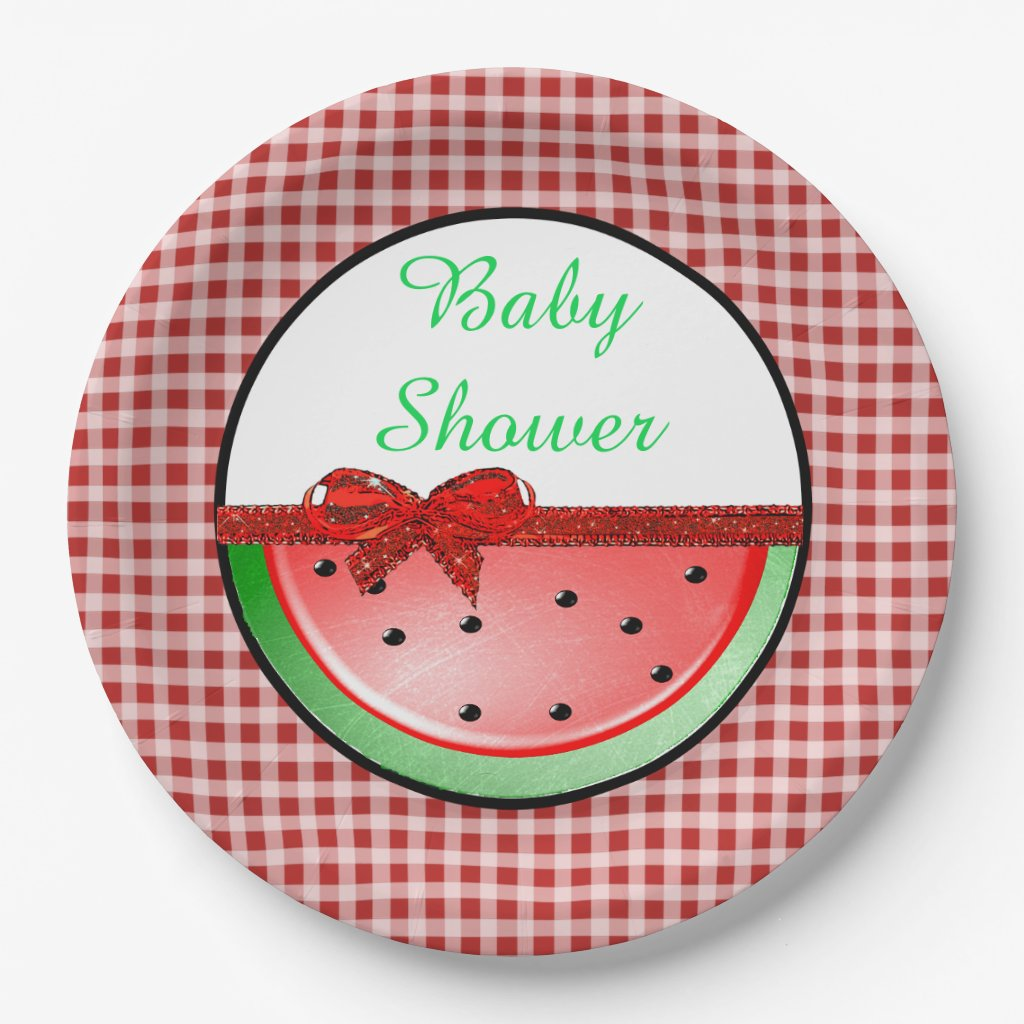 Baby Shower Watermelon Red Green Gingham Plates