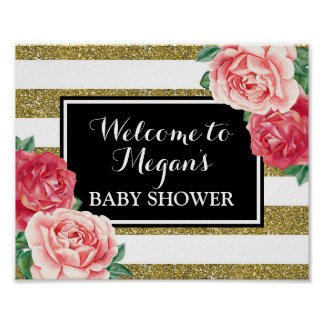 Baby Shower Welcome Black Gold Pink Floral Poster