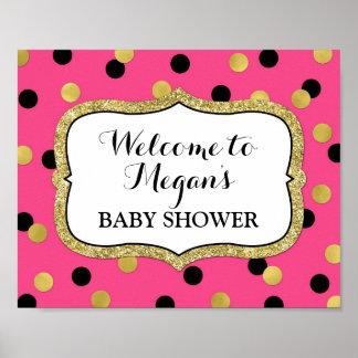 Baby Shower Welcome Fuchsia Black Gold Confetti Poster
