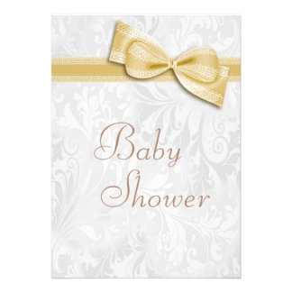 Baby Shower White Damask and Faux  Bow Invites