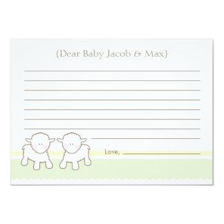 Baby Shower Wish Card - Twin Little Lambs