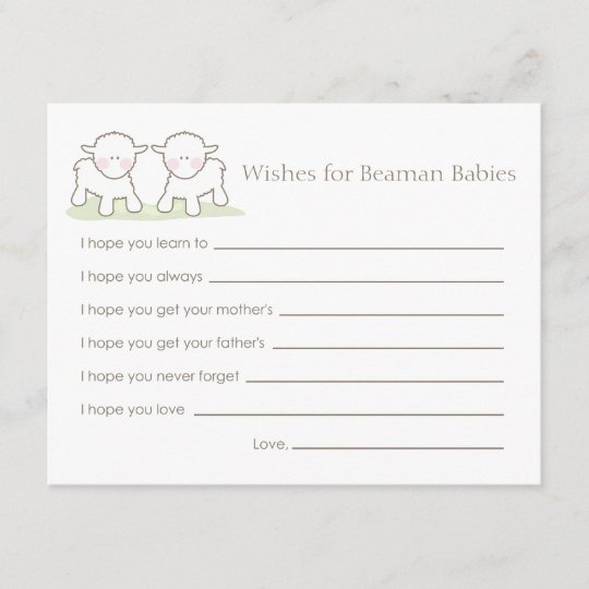 baby shower wish card twin little lambs