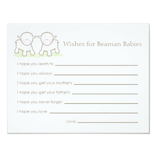 Baby Shower Wish Card - Twin Little Lambs