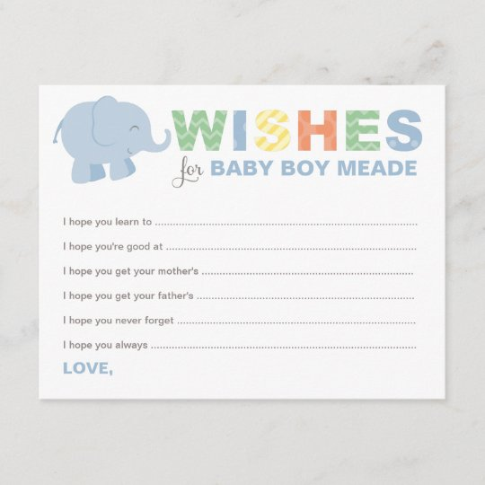 baby shower wish cards jungle animals for boy
