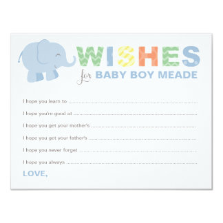 Baby Shower Wish Cards | Jungle Animals for Boy
