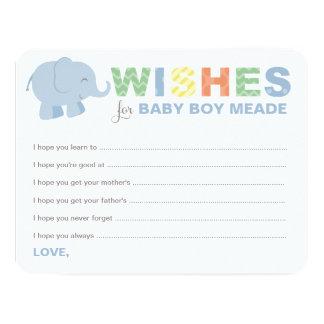 Baby Shower Wish Cards | Jungle Animals for Boy Custom Invites
