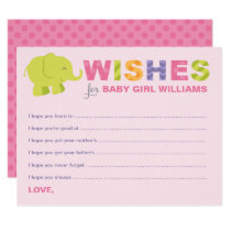 Baby Shower Wish Cards | Jungle Animals for Girl