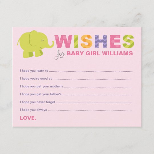 baby shower wish cards jungle animals for girl