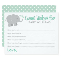 Baby Shower Wish Cards | Mint and Gray Elephant