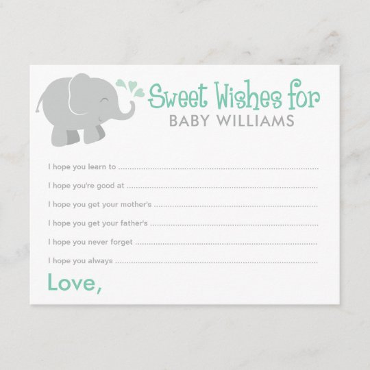 baby shower wish cards mint and gray elephant