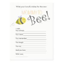 Baby Shower Wish Game- Mommy to Bee Postcard