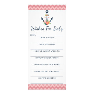 Baby Shower Wish Game Nautical Floral Anchor Rack Card