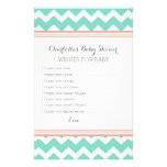 Baby Shower Wishes for Baby Aqua Coral Chevron Stationery