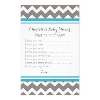 Baby Shower Wishes for Baby Blue Grey Chevron Stationery