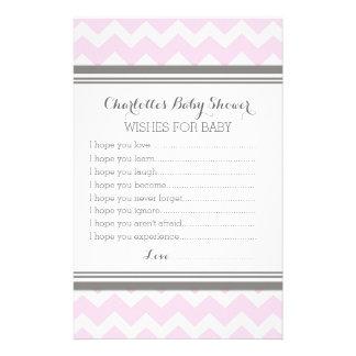 Baby Shower Wishes for Baby Blush Grey Chevron Stationery