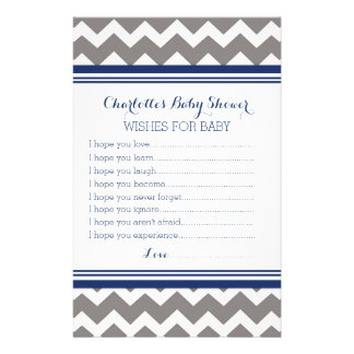 Baby Shower Wishes for Baby Grey Blue Chevron Stationery