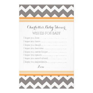 Baby Shower Wishes for Baby Orange Grey Chevron Stationery