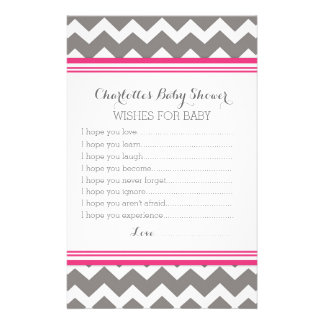 Baby Shower Wishes for Baby Pink Grey Chevron Stationery Design