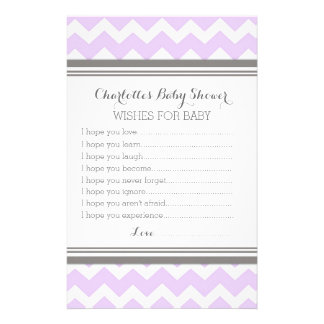 Baby Shower Wishes for Baby Purple Grey Chevron Stationery