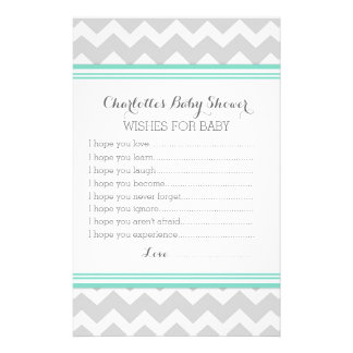 Baby Shower Wishes for Baby Turquoise Grey Chevron Stationery