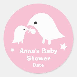 Baby Shower with Birdie Mom & Baby Sticker in Pink