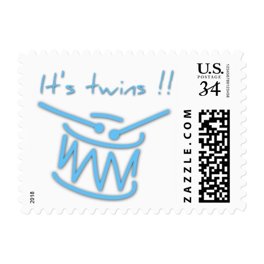Baby Shower with Drums It's Twins - Postage