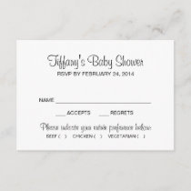 Baby Shower with Entree Choices Black Script RSVP Card