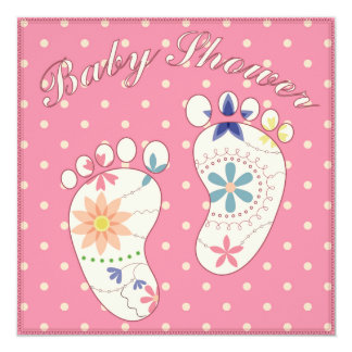 Baby shower with feet pink card