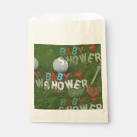 Baby Shower with golf ball on grass Favor bag