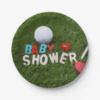 Baby Shower with golf ball on grass Paper Plate