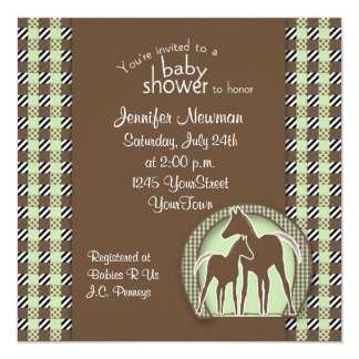 Baby Shower with Horses in Green Plaid Card
