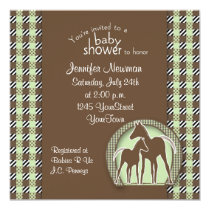 Baby Shower with Horses in Green Plaid Invitation