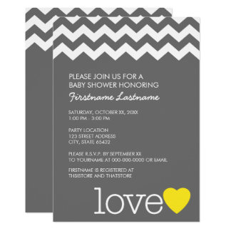 Baby Shower with modern chevrons and heart Card