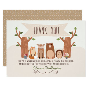 Charming Baby Shower Woodland Animals Thank You Card