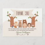 """Baby Shower Woodland Animals Thank You Card<br><div class=""""desc"""">This rustic woodland baby shower thank you flat card can be used for other occasions as well. The design features a cute little fox, deer, bear and porcupine. I&#39;ve added a decorative divider in the design as well as a banner. I wanted to create more rustic woodland baby shower invitations...</div>"""