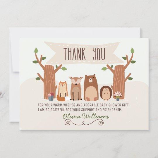 baby shower woodland animals thank you card  zazzle