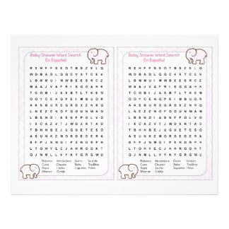 "Baby Shower word search Spanish Folleto 8.5"" X 11"""