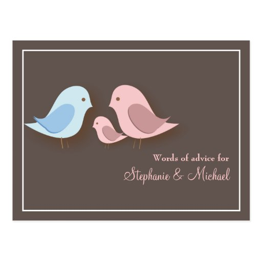 Baby shower words of advice card lovebird family postcard zazzle