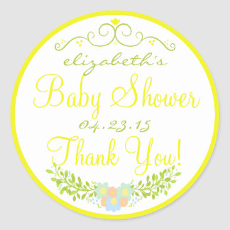 Baby Shower Yellow and Green Floral Classic Round Sticker
