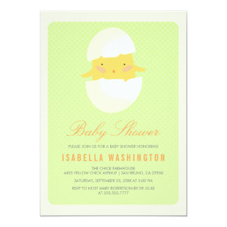 Baby Shower | Yellow Baby Chick Hatching From Egg Card