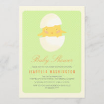 Baby Shower   Yellow Baby Chick Hatching From Egg Invitation