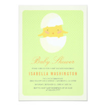 Baby Shower | Yellow Baby Chick Hatching From Egg Invitation