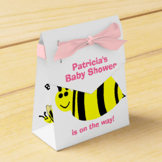 Baby Shower Yellow Bumble Bee Black Bow Thank You Favor Box